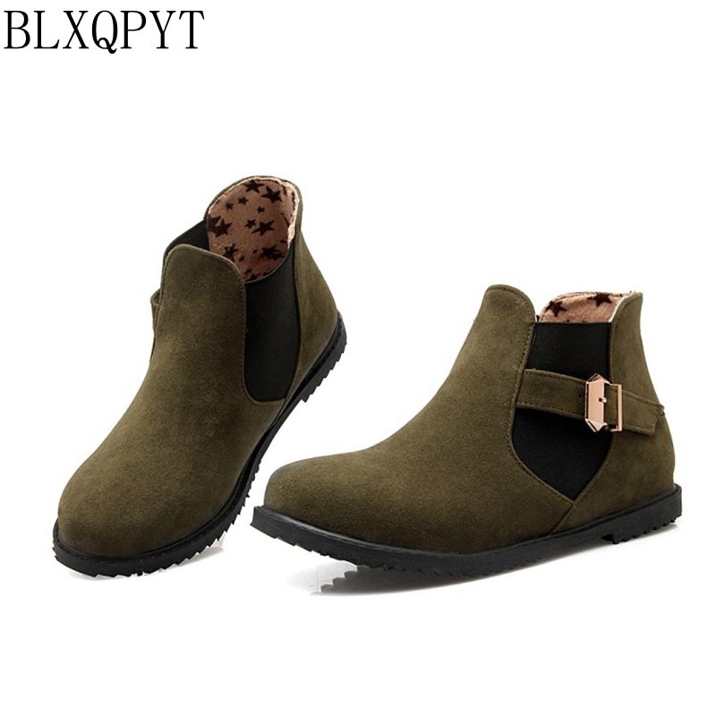 Big size 30-52 Botas Mujer Winter short Boots New Round Toe Buckle Boots For Women Sexy Ankle Fashion Winter Shoes Casual 502 цены онлайн
