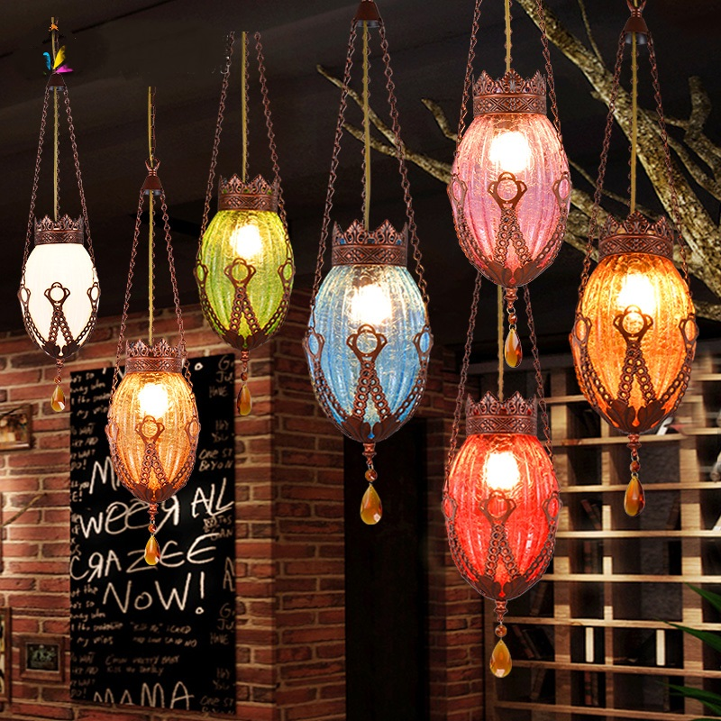 Bohemia Coffee shop bar pendant lights corridor lamp iron+ Glass lighting creative personality blue green lamps ZA BXY20 free deliverythe the new clover pendant glass piaochuang tiffany bar creative personality corridor lamp simple modern lighting