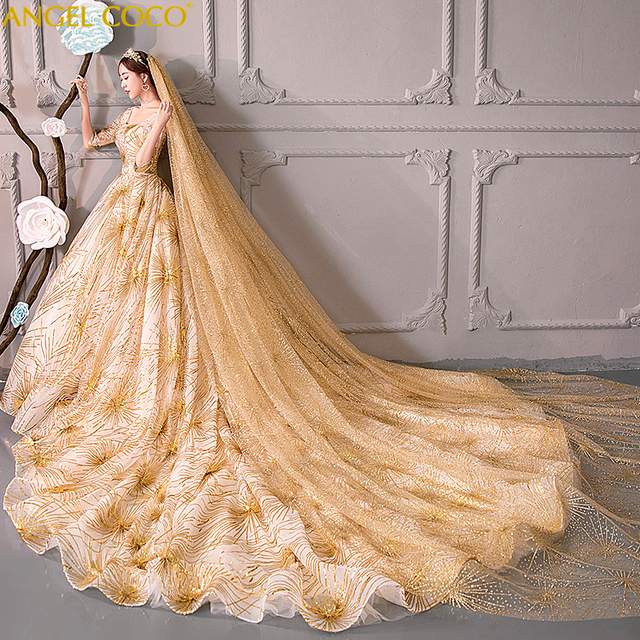 Luxury Court Train Bling Bling Pregnant Wedding Dress Dubai Gold Bride Mariage Winter Pregnancy Maternity Bridal Gowns Free Veil