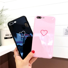 Lovely Heart Painted Phone  For iphone 6 6S Plus 7 8 Fashion Couples Back Soft TPU Cover Earphone Accessories