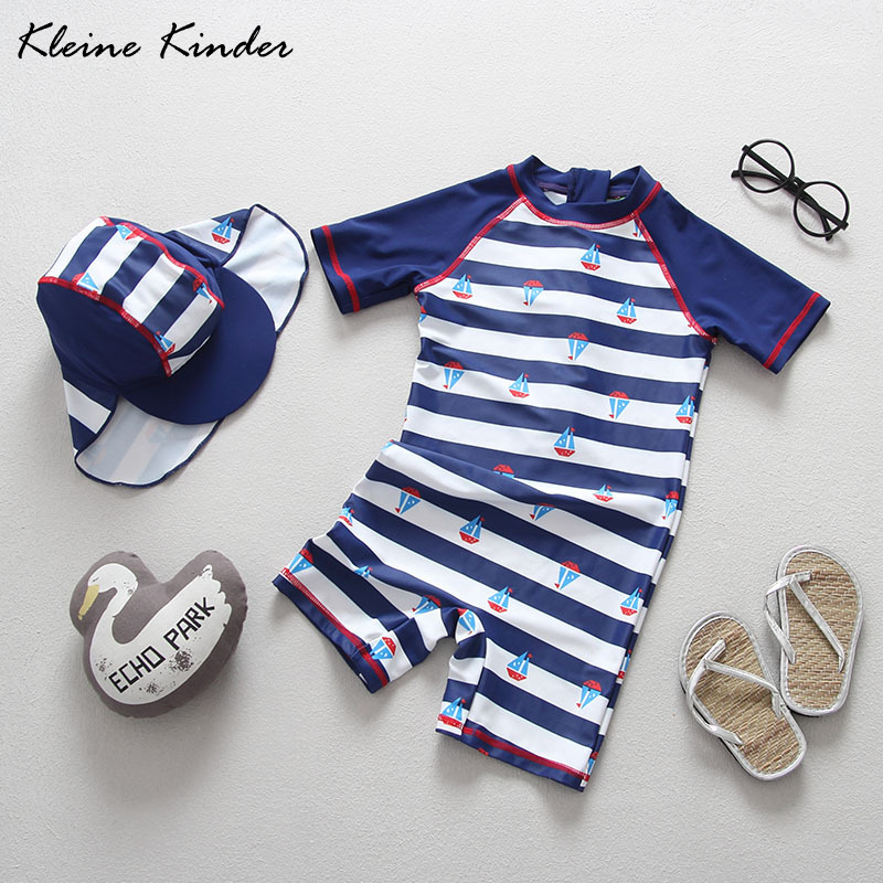 Boy Swimsuit Kids 2019 Brand New Striped Baby Bathing Suit Children's Swimming Suit With Sun Cap Cute Cartoon Kids Swimwear 1-7T