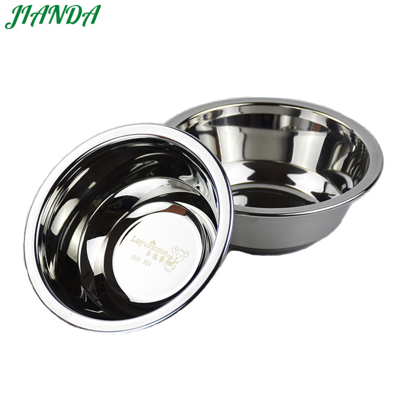 JIANDA Flat Base 304 Stainless Steel Bowl Mixing Salad Bowl Mirror Finish Prep Pots Series Food Storage Kitchen Tools ...