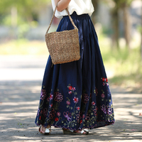LZJN 2017 Elastic High Waist Long Skirt Women Summer Embroidery Skirts A Line Vintage Maxi Skirt