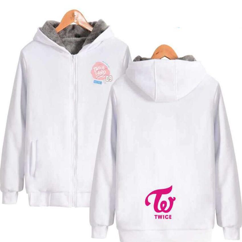 2019 Winter Korean KPOP Twice Signal Album Pink Hoodie Sweatshirt For Men  Women Streetwear Hip Hop Thick Warm Zip Hooded Jacket Coat From Zhouzhaoyu,
