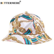 BUTTERMERE Cotton Bucket Hat Men White Blue Hip Hop Summer Male Cool Print Chain Party Brand Foldable Fishing Caps Fashion
