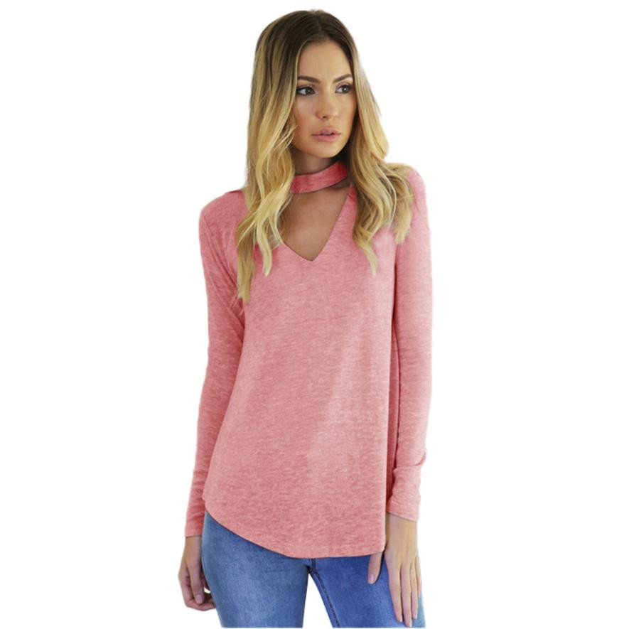 long sleeve tee shirts women choker neck hollow out pink t. Black Bedroom Furniture Sets. Home Design Ideas