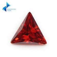 3x3 ~ 12х12 мм треугольная форма 5a гранат красный фианит Лус