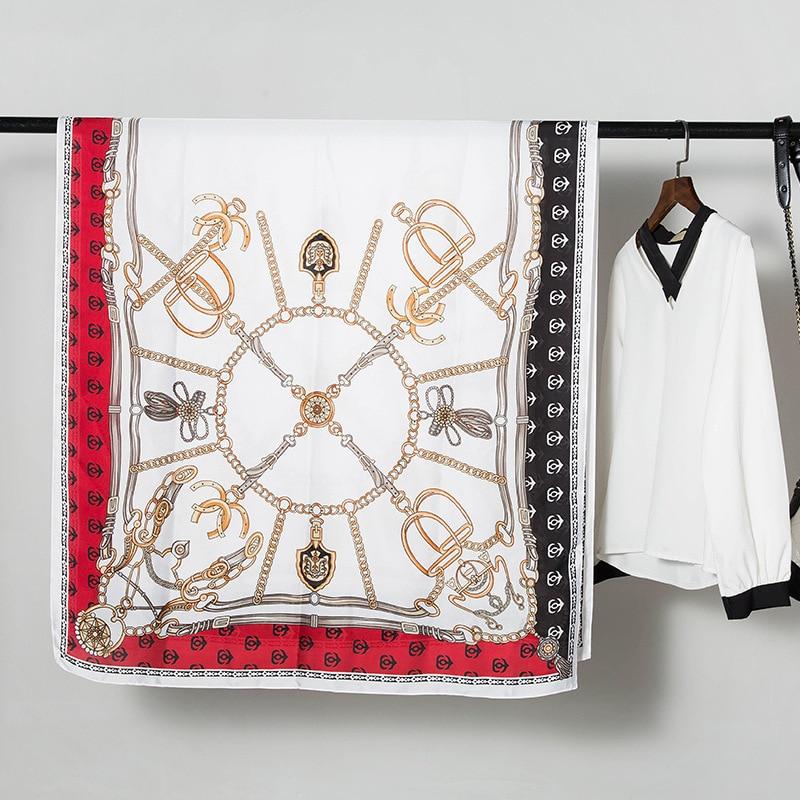 Luxury Shawls Long Scarf For Women Fashion Print Silk Hijab Scarfs Female 180cm*90cm Neckerchief Wraps Scarves For Ladies 2019