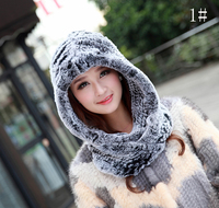 Women's Winter Scarves With Real Fur Hat New Luxury Fur Scarf Female Elegant Knit Real Rex Rabbit Fur Hooded Scarf Russian Warm