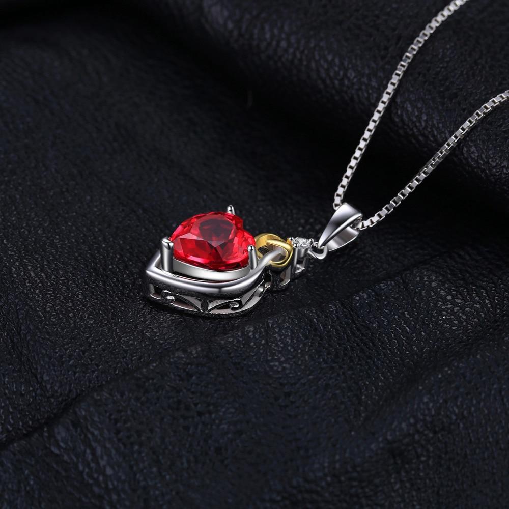 JewelryPalace Love Nnot Heart 2.5ct Creado Ruby Colgante 18 K Oro - Joyas - foto 4