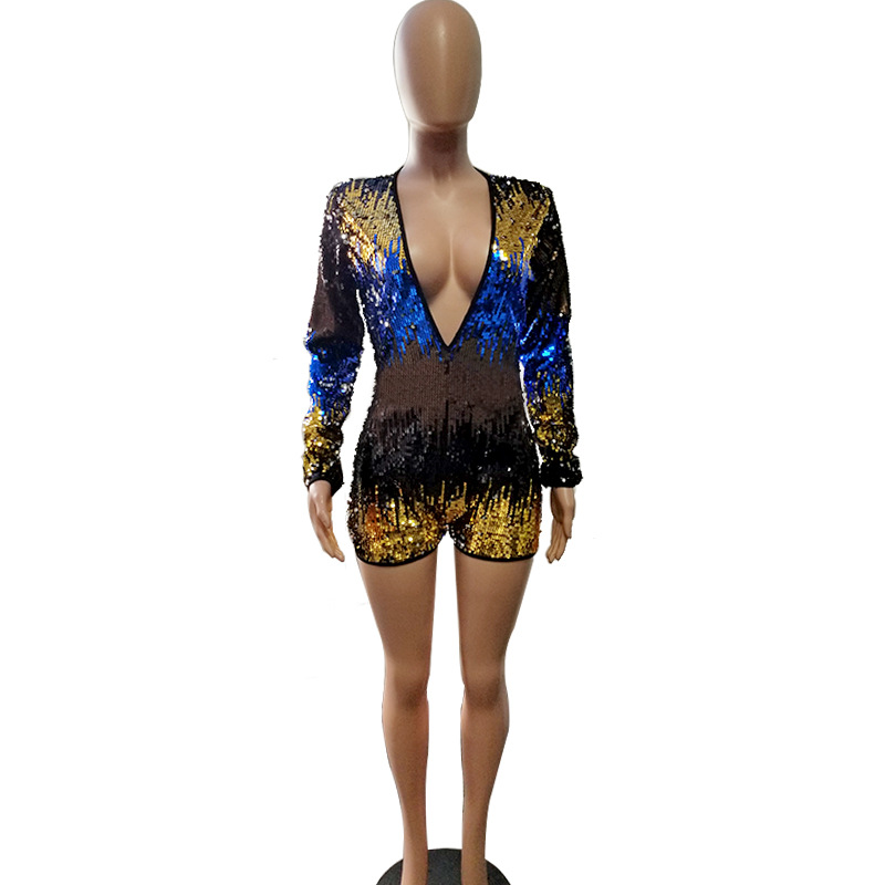 Adogirl Colorful Sequins Deep V Neck Playsuit Women Sexy Sheath Long Sleeve Night Club Party Jumpsuit Casual Overalls Rompers 87