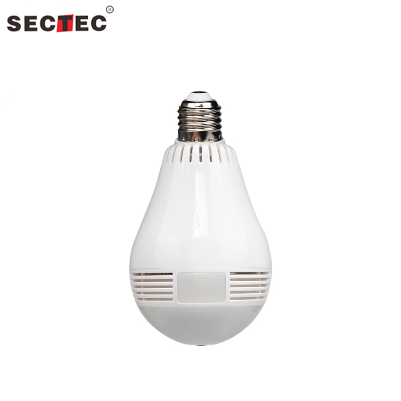 SECTEC 960P WIFI Light Bulb Security Camera Fisheye 360 Degree IP Camera HD Mini Home IP Security Camera CCTV VR Panoramic Cam myeye 2017 new panoramic vr wifi ip camera hd 720p 960p with fisheye lens 180 360 degree security camera home safety ip camera