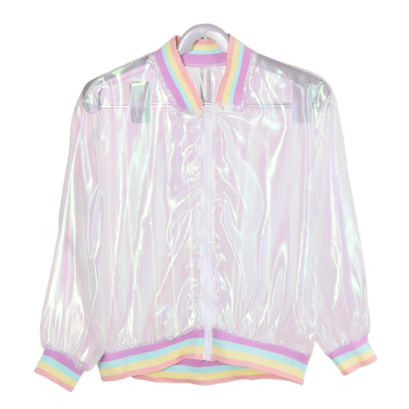 Hologram Clear Iridescent Transparent Bomber Jacket