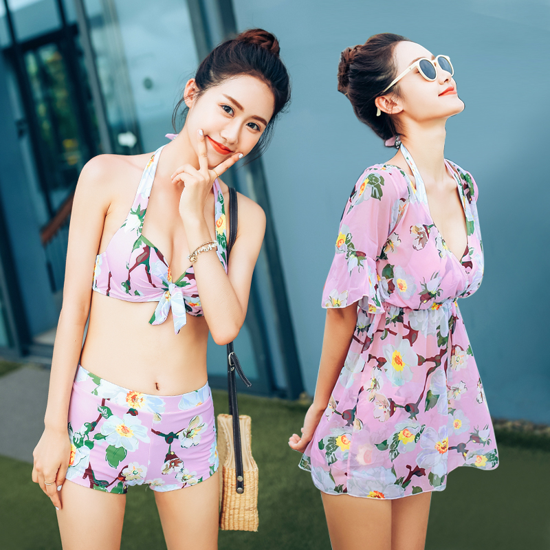 Halter print Push Up summer 2018 new Sexy women swimwear cover ups three piece swimsuit Asian