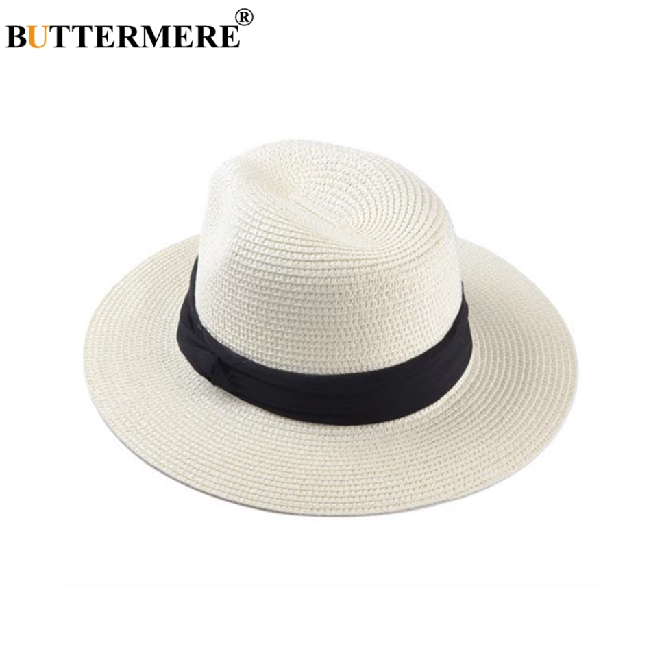 96107bc8785 BUTTERMERE Straw Hat Women Panama Hat Men Summer Sun Hat Beach Casual Wide  Brim Beige Hawaiian Brand Cap-in Sun Hats from Apparel Accessories on ...