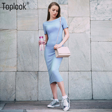 Toplook Jacquard Elegant Dress Blue Bodycon Short Sleeve Summer Women Knee Length Dress Robe 2017 O-Neck Fitness Long Dresses(China)
