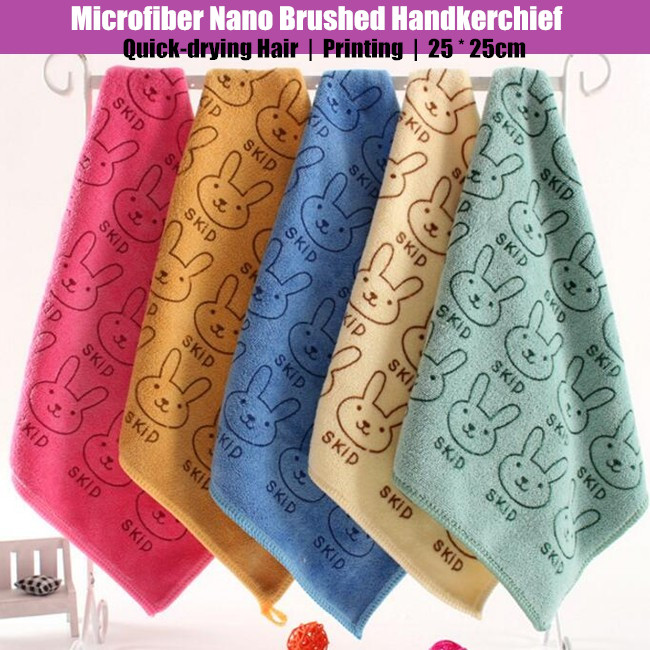 100p! 25x25cm Unisex Children&Adult MINI Microfiber Nano Brushed Handkerchief,Quick-drying Hair Brushed Cute Small Handkerchiefs