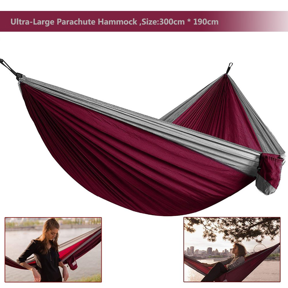 2019 Ultra-Large Light Weight Parachute Hammock Camping Survival Garden Hunting Leisure Hamac Travel Double Person Hamak Ramac(China)