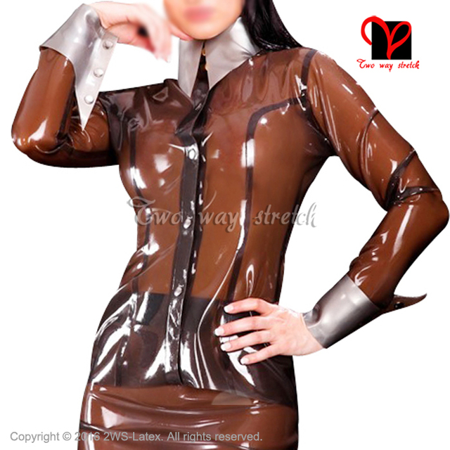 Sexy Latex blouse with long sleeves turn down collar Rubber shirt top clothes clothing plus size match skirt XXXL SY-072