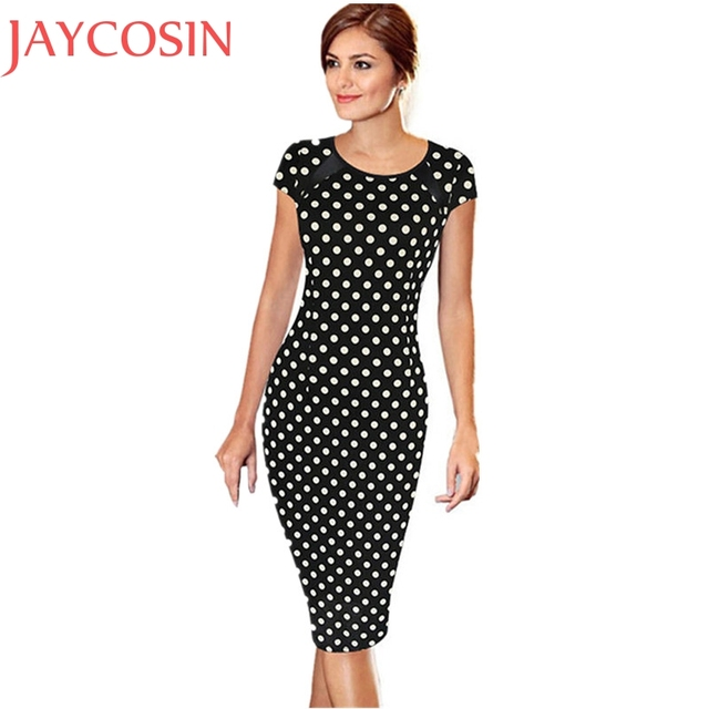 145a935200 Summer Work Bodycon Short Sleeve Dot Printed Knee Length Dress Women Sexy Office  Lady Party Cocktail Pencil Dress Vestido Feb21