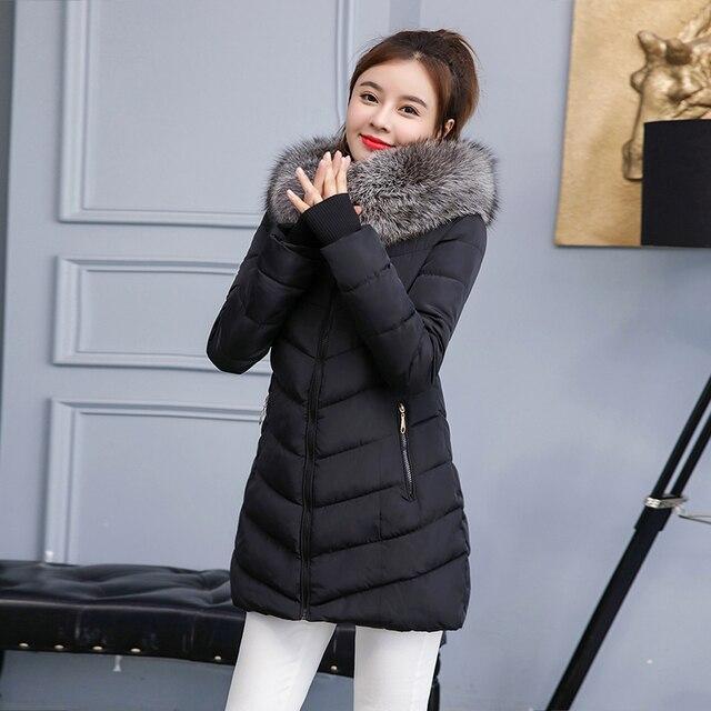 2019 חדש סגנון חורף מעיל נשים מעילי מלאכותי צווארון נקבה Parka עבה כותנה מרופדת בטנת חורף מעיל גבירותיי S-3XXXL