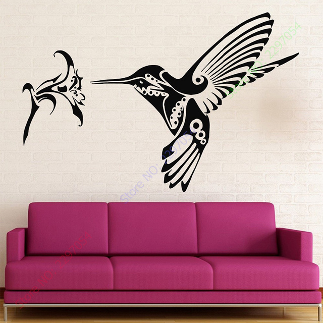 Aliexpress.com : Buy Hummingbird bird flower Animal Wall Sticker ...