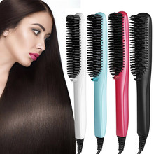 Buy online Electric hair straightener brush Professional Hair Comb Straightening Irons With LCD Display Flat Iron