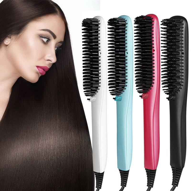 Electric hair straightener brush Professional Hair Comb Straightening Irons With LCD Display Flat Iron top beauty hair comb hair straightener brush irons lcd display ceramic electric degital control hair care scalp massage tools