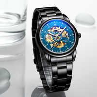 2019 New Winner Black Golden Retro Luminous Hands Fashion Diamond Display Mens Mechanical Skeleton Wrist Watches Top Brand Luxur