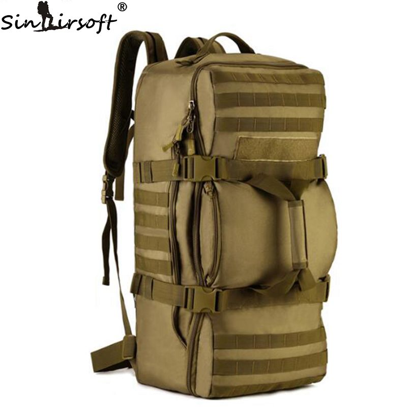 SINAIRSOFT Outdoor 60L Nylon Tactics Soft back Men Bag Military Rucksack Travel Camouflage Shoulder Messenger Backpack LY0058 tacvasen men s tactics backpack travel shoulder bags camouflage rucksack 15 6 inches laptop camera military bag td szlm 017
