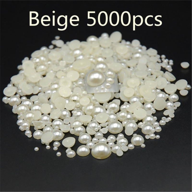 Mixed size 5000pcs/pack beige Half Round Resin Flatback Nail Art ABS Pearl For Nail ,Phone, Shoes, Clothing decorative pearls mixed flat back pearls mixed size nail pearls for nails acrylic nail supply nail art rhinestone decorations new arrive zj1233
