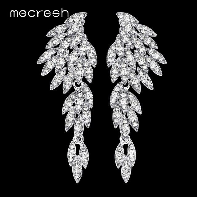 Mecresh 5 цветов Кристалл Длинные Серьги для Для женщин ОРЕЛ Серебряный/черный Цвет Свадебные Серьги Модные украшения 2017 eh209
