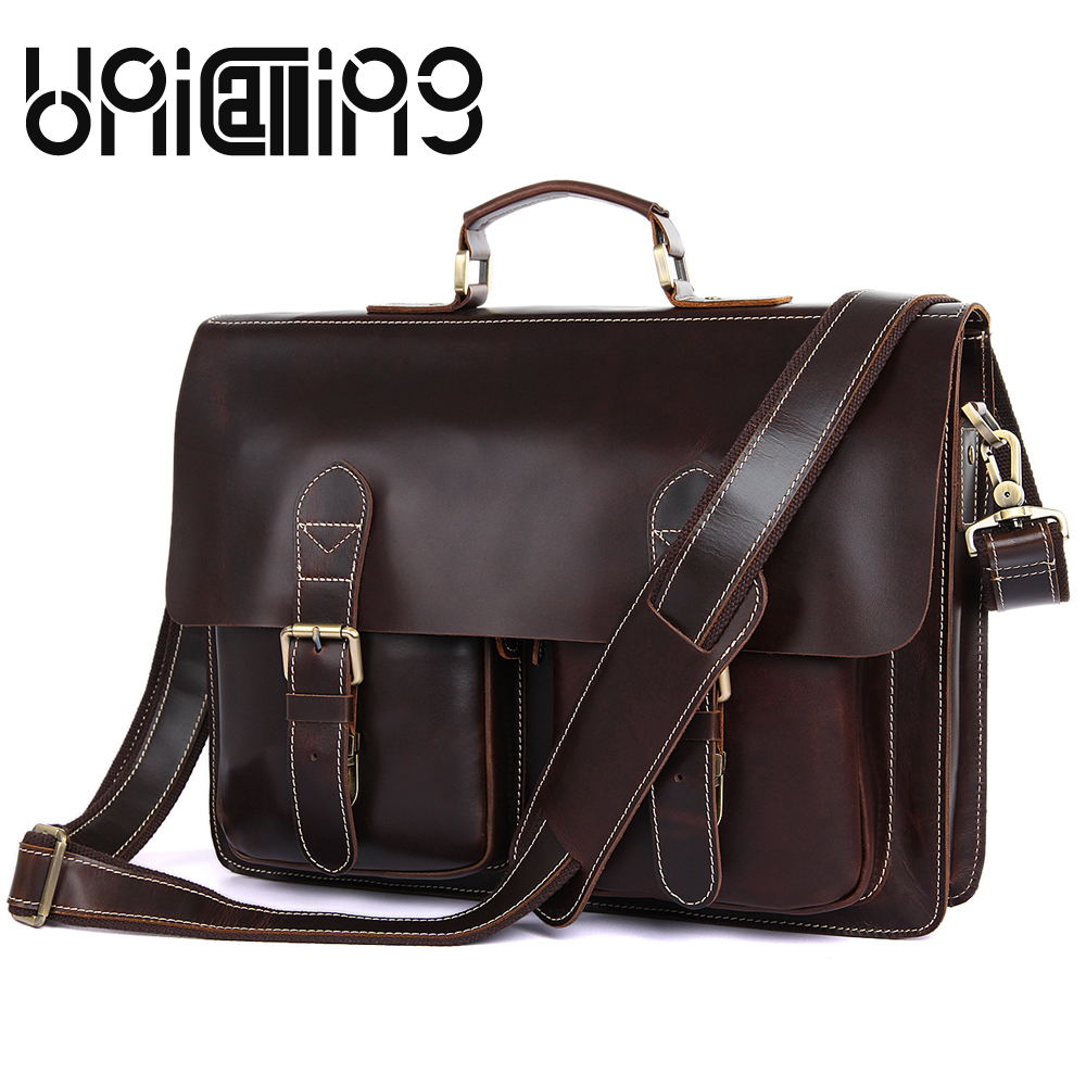Retro men bag Genuine Leather commerce handbags Oil wax briefcase Fashion Large capacity hasp cow leather men messenger bags new style messenger bag men leather top grade all match hasp fashion retro cow leather men bag solid color small shoulder bags