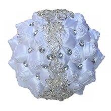 8 รูปแบบที่แตกต่างกันสีขาวซาติน rhinestones ดอกไม้แต่งงานเจ้าสาวดอกไม้ริบบิ้นช่อดอกไม้สำหรับเจ้าสาว