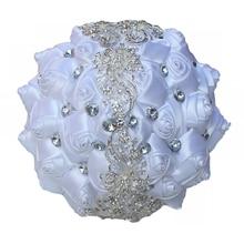 Oito estilos diferentes de cor branca cetim strass segurando flores casamento noiva mão flor buquê de fita para noiva