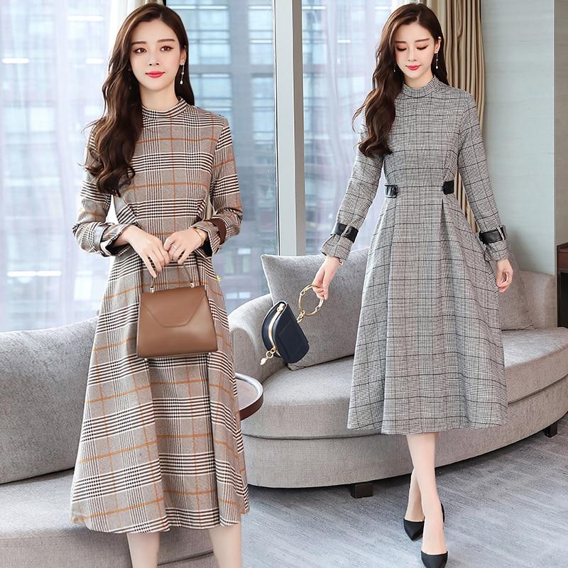 Detail Feedback Questions about Spring Autumn New Vintage Plaid Midi Dresses  2019 Winter Korean Elegant Women Party Long Sleeve Dress Runway Bodycon