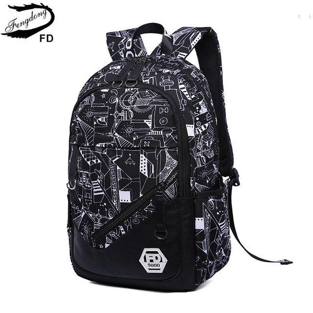 FengDong men USB backpack boys school bags backpacks for children fashion  graffiti bag kids book bag school backpack for boy 19856deae8