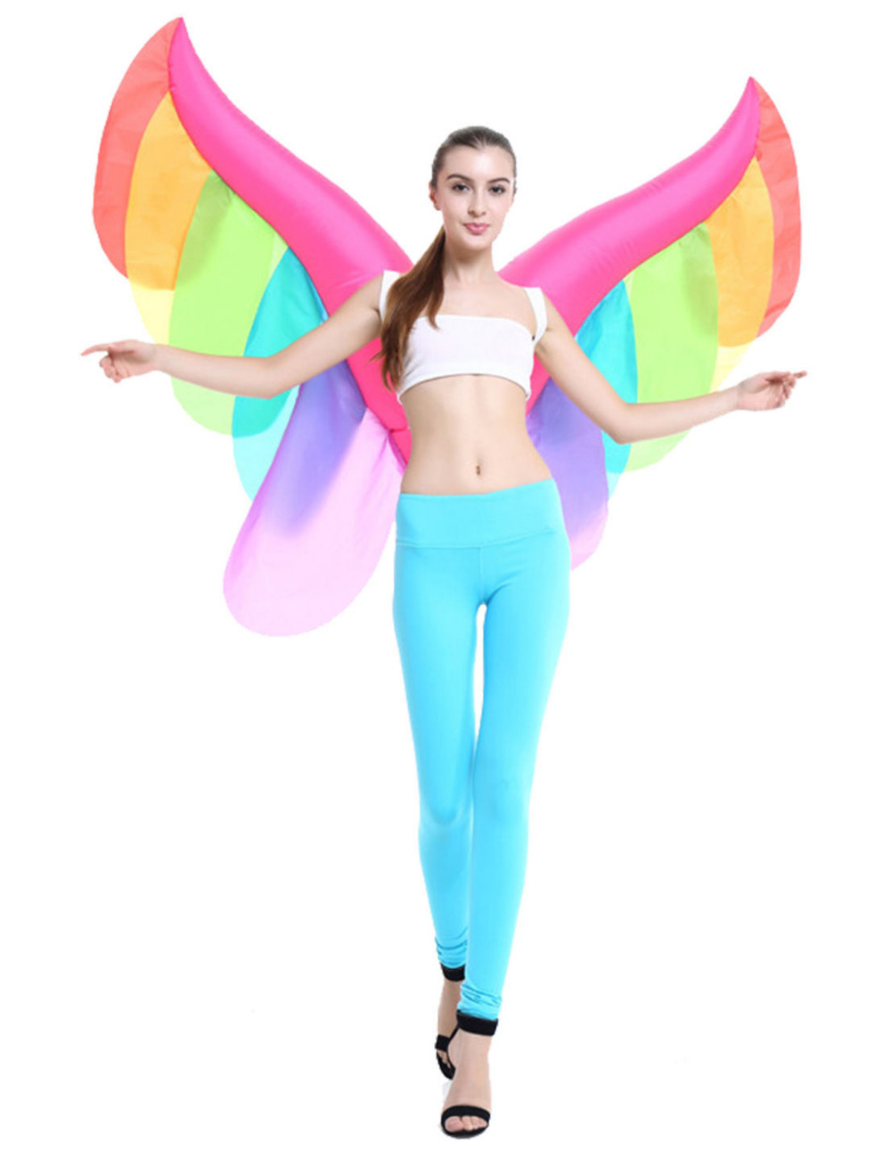 Inflatable Fairy Wings Suit Cosplay Adult Blowup Costume Halloween Fancy Dress