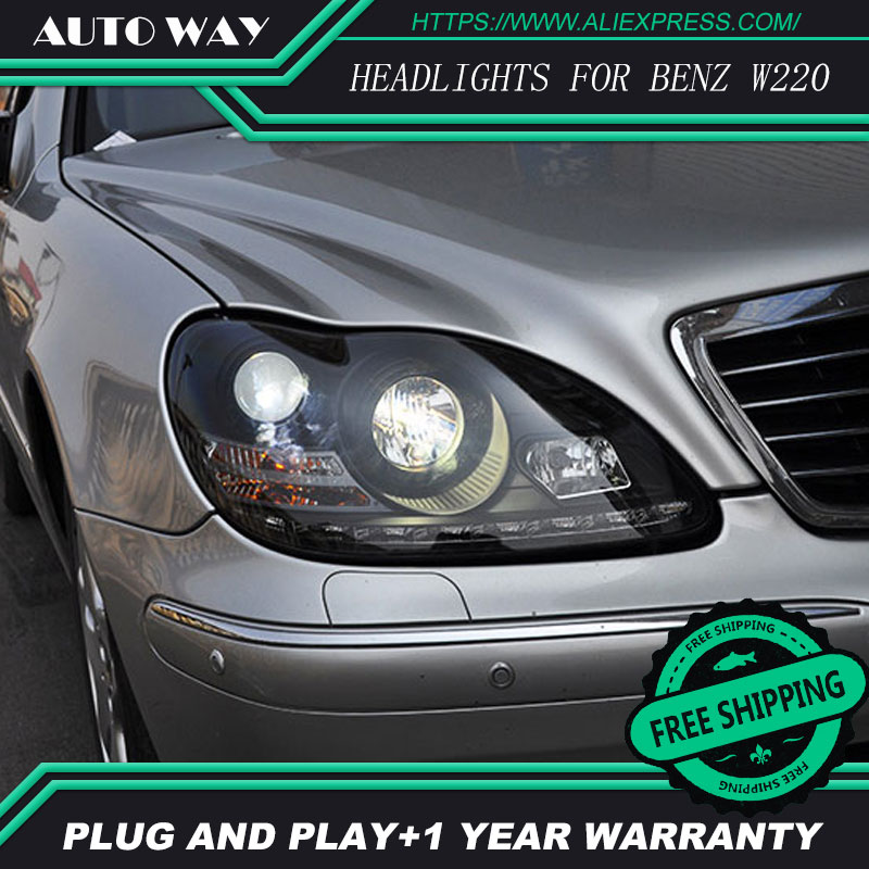 Car Styling Head Lamp case for Mercedes Benz W220 S280 S320 S500 S600 Headlights LED Headlight DRL Bi-Xenon Lens HID Double 1998 2005 year for mercedes benz w163 ml320 ml350 ml430 ml450 head lamp silver lf