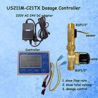 US211M C21TX Dosage Machine Quantitative Controller Water Flow Meter Sensor Reader with USC HS21TX 1 30L/min 24V Displayer