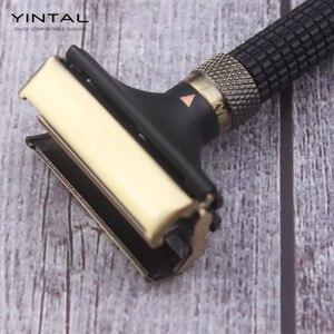 Image 2 - Yintal lâmina de barbear ajustável, com borboleta aberta dupla borda segura 3 cores latão alça longa lâminas projetadas por weishi