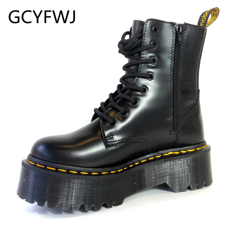 GCYFWJ Brand Design Women Boots Winter Zipper Ankle Boots Lace Up Platform Shoes Woman Militares Riding Female Botas Mujer 2019