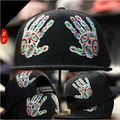 New 2016 Fashion Snapbacks Colorful Double Hand Fingers Embroidery Flat Brim Hiphop Hat Hip hop Cap Baseball Caps For Men Women