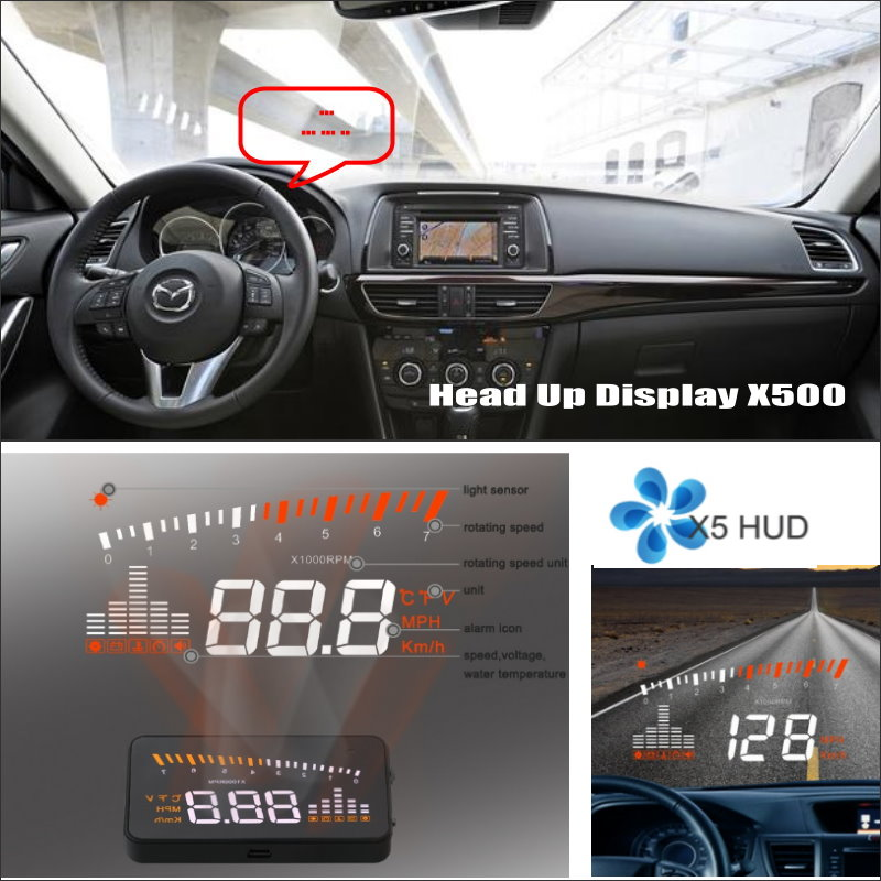 d010387a5de46 Samochodów HUD Wyświetlacz Head Up Dla Mazda6 Mazda 6 Sedan 2013 ~  2015-Bezpiecznej Jazdy Ekran Projektora Inforamtion Refkecting wycieraczki