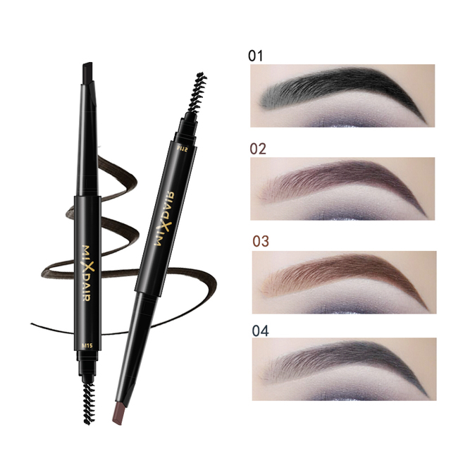 MIXDAIR Eyebrow Enhancer With Stencil Eyes Make Up Tools Cosmetics Natural Long Lasting Paint Waterproof Black Eyebrow Pencil 1