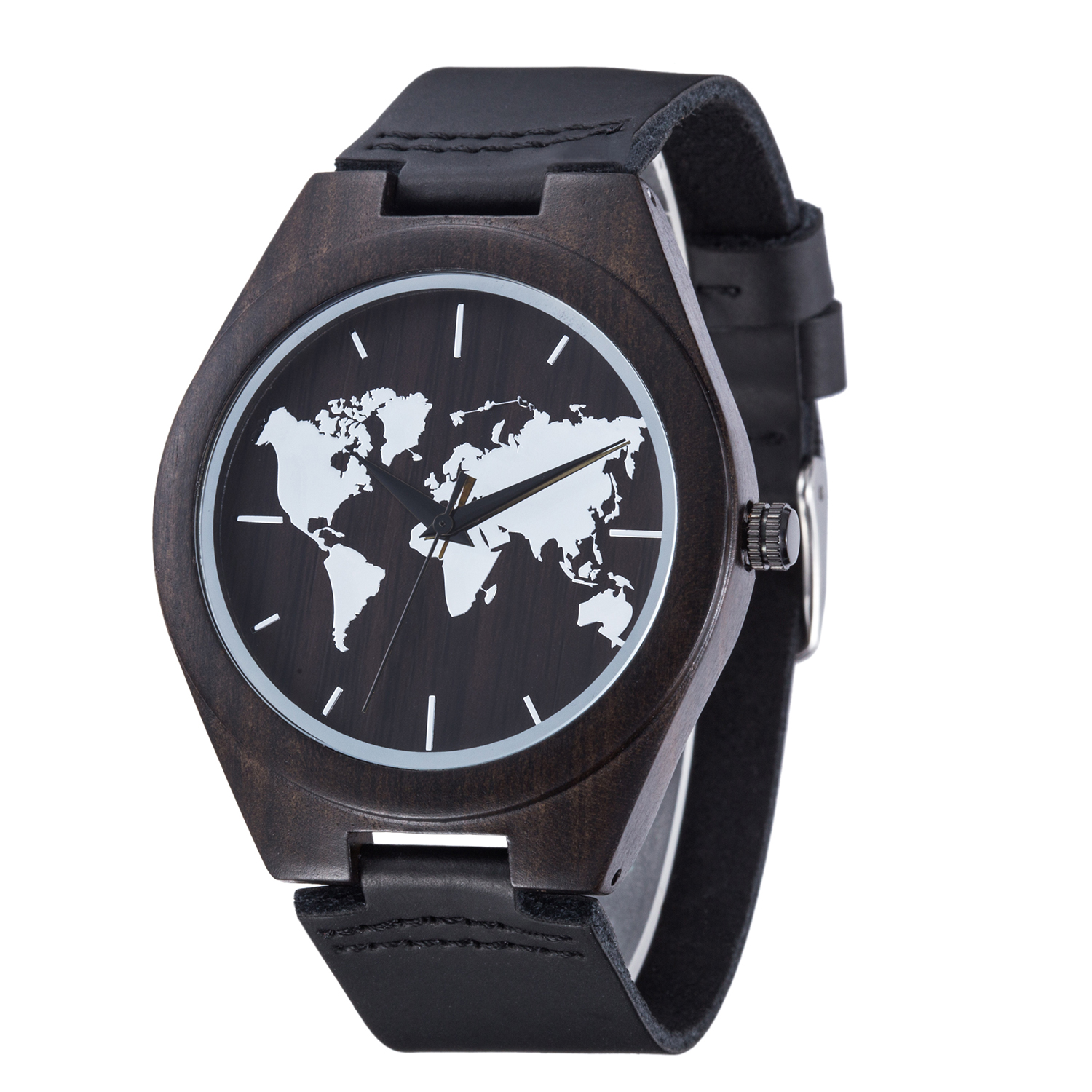 New Black Wooden World Map Mens Genuine Leather Quartz Watch Bamboo Wood Male Wristwatches Fashion with Gift Box Reloj de Madera new world map mens genuine leather quartz watch wood bamboo male wrist watch luxury brand reloj de madera genuine with gift box