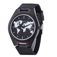 New Black Wooden World Map Mens Genuine Leather Quartz Watch Bamboo Wood Male Wristwatches Fashion with Gift Box Reloj de Madera