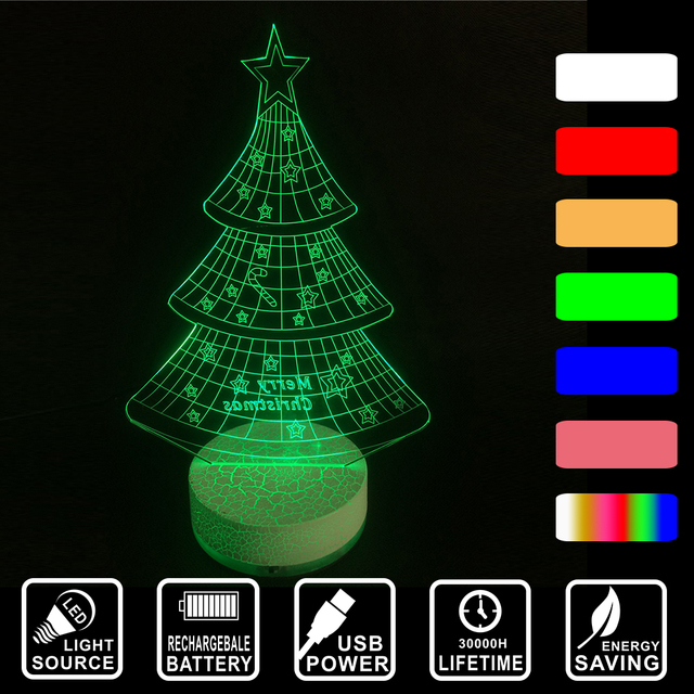 christmas decor light acrylic colorful changing nightlight christmas tree rechargeable led 3d visual usb desk lamp