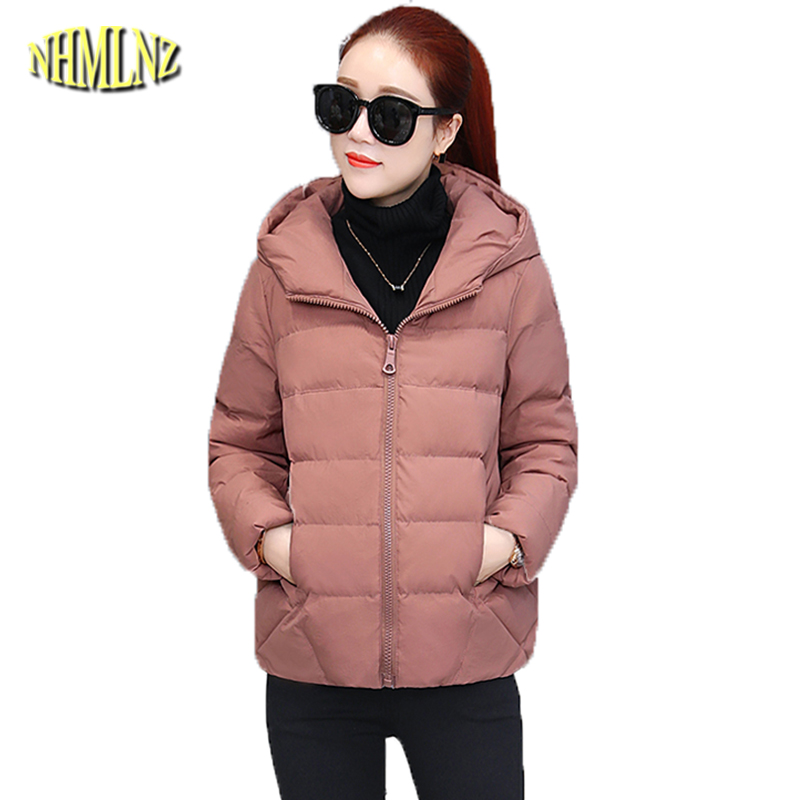2019 Winter New Solid Color Coat Women Fashion Hooded Short   Parkas   Long sleeve Zipper Casual Warm Cotton Jacket Female DAN266