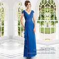 Royal Blue Cap Sleeve Beading Chiffon Mother of the Bride Dress Plus Size Long 2016 New Fashion M1868